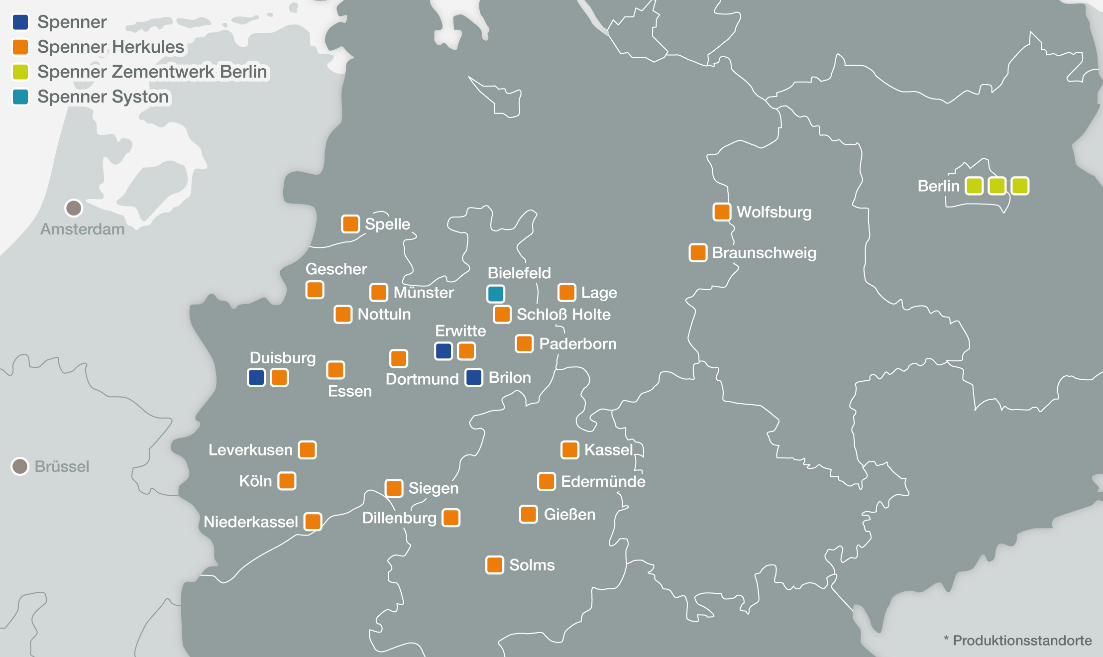 Übersichtkarte der Spenner Unternehmens Standorte